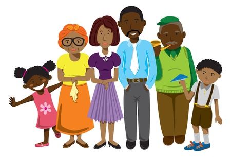 black family smiling: African family cartoon Illustration