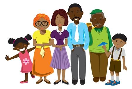 Afrikai család rajzfilm Illusztráció