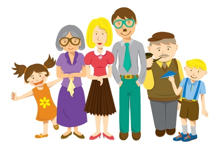 family isolated: family cartoon Illustration