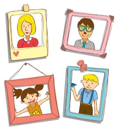 retrato de la familia Ilustración de vector