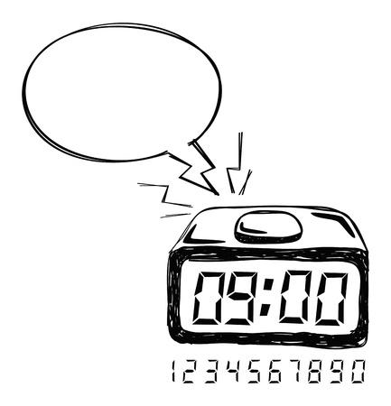 clip art draw: alarm clock with bubble speech Illustration