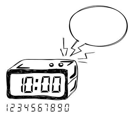 digital clock: alarm clock with bubble speech Illustration