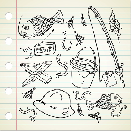 cartoon fishing: fishing stuff in doodle style
