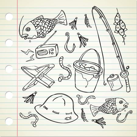 pesca: pesca materia en estilo garabato Vectores