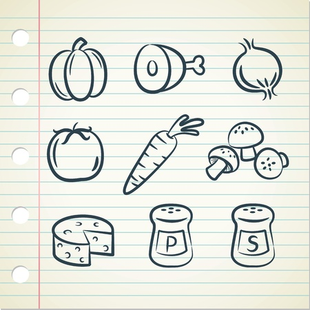 culinary arts: set of food icon in doodle style