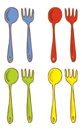 cubiertos de plata: cuchara y tenedor