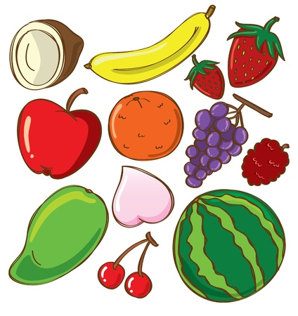 manzana caricatura: Conjunto de frutas garabato
