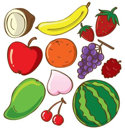 apple cartoon: set of fruit doodle Illustration