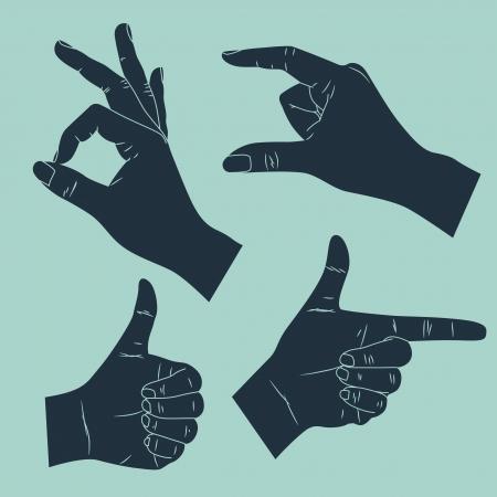 lenguaje corporal: mano humana con diversos gestos