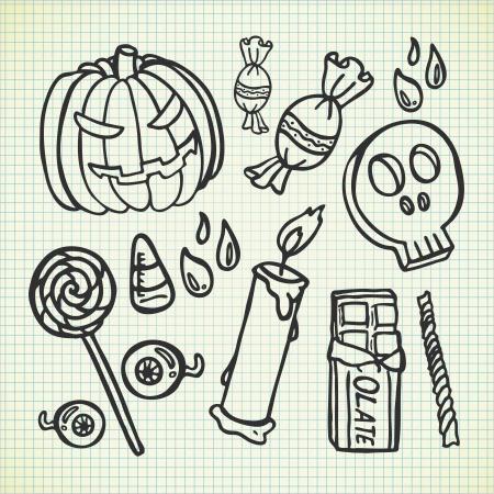 set of Halloween doodle Vector