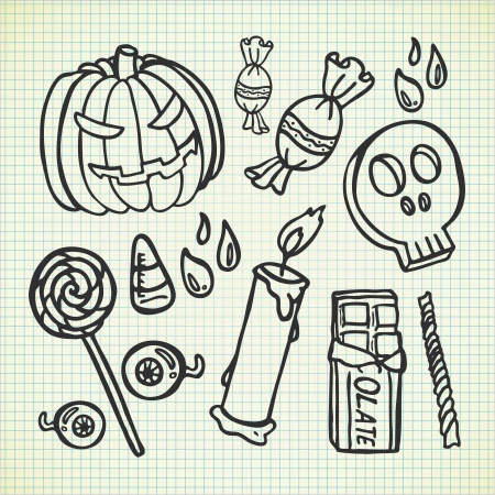 cute ghost: set of Halloween doodle Illustration