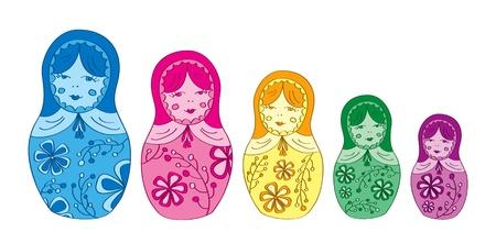 matryoshka doll: Russian matryoshka doll with floral pattern