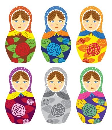 muñecas rusas: Muñeca rusa matrioshka con estampado de flores