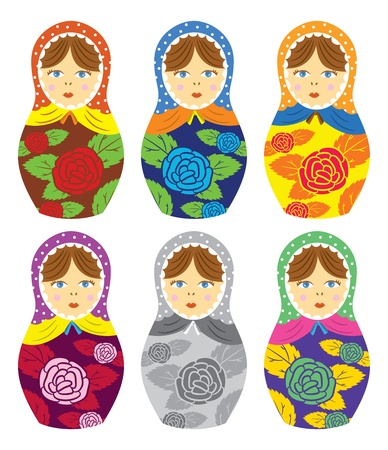 Russian matryoshka doll with floral pattern Vector
