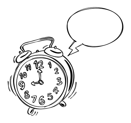 clip art draw: alarm clock with bubble speech Illustration