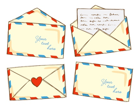 write letter: set of mail in doodle style Illustration