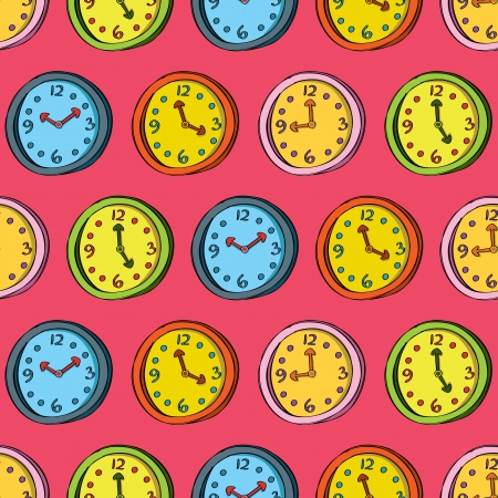Retro clock seamless pattern Vector