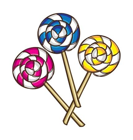 paletas de caramelo: Conjunto de colorido del lollipop
