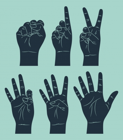 vintage counting hand Stock Vector - 15058769