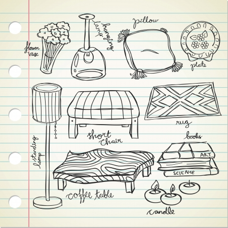 Set of living room stuff Vector