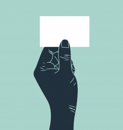 blank business card: Hand showing blank ID card Illustration