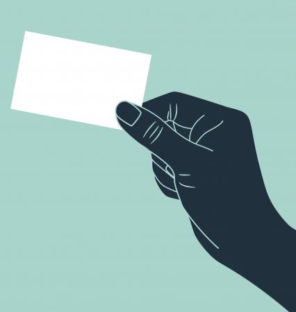 hand holding card: Hand met lege identiteitskaart Stock Illustratie