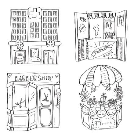 hospital dibujo animado: Hospital - hotdog stand - peluquería - florería Vectores