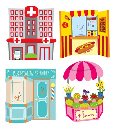 Hospital - hotdog booth - barbershop - flower shop