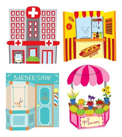 hospital cartoon: Ospedale - stand hotdog - barbiere - negozio di fiori