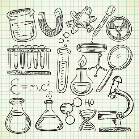 science chemistry: Set of science stuff in doodle style Illustration