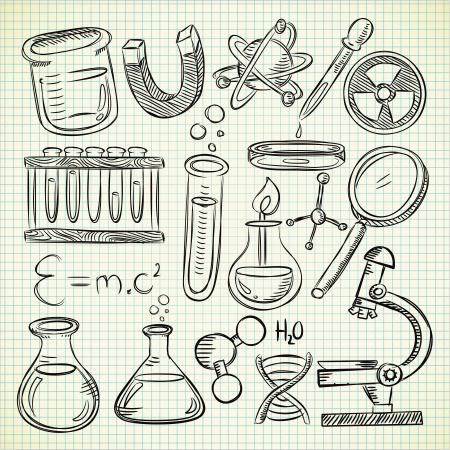 Set van wetenschap spullen in doodle stijl