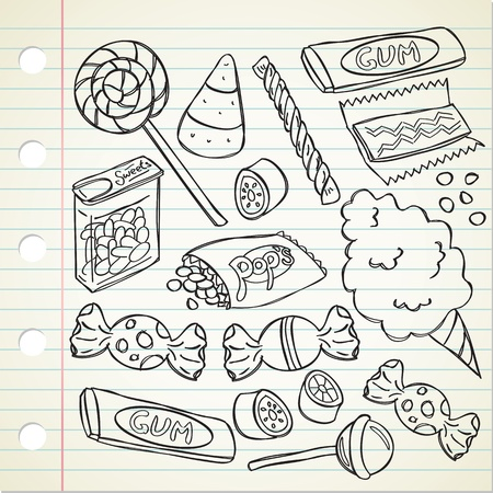 Set of candy in doodle style Vector