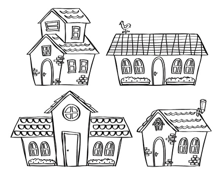 home clipart: Set of house in doodle style