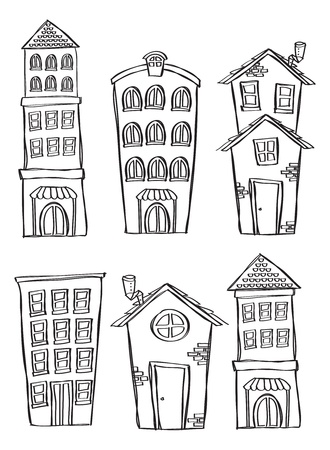clip art draw: Set of building in doodle style