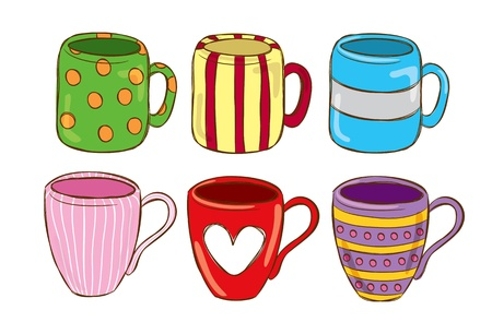 set of mug in doodle style