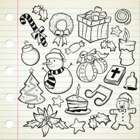 adornos navideños: juego de decoración de Navidad en estilo garabato Vectores