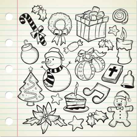 set of Christmas decoration in doodle style Vector