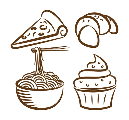 croissant: set of food icon in doodle style