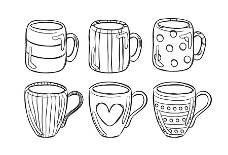 coffee cup isolated: set of mug in doodle style