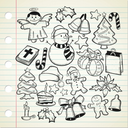 hat santa: big set og Christmas doodle  Illustration