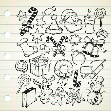 big set og Christmas doodle  Vector