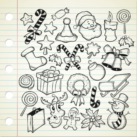 candy cane background: big set og Christmas doodle  Illustration