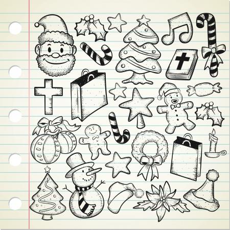 nagy készlet og Karácsonyi doodle Illusztráció