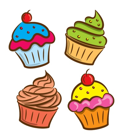 yogurt ice cream: set of cupcake and yoghurt icon in doodle style