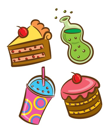set of food and beverage icon in doodle style Vector