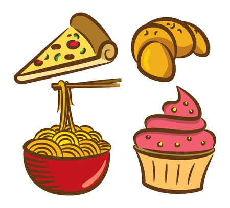 set of food icon in doodle style