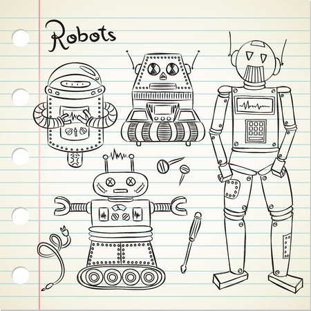 computer science: set of vintage robot in doodle style