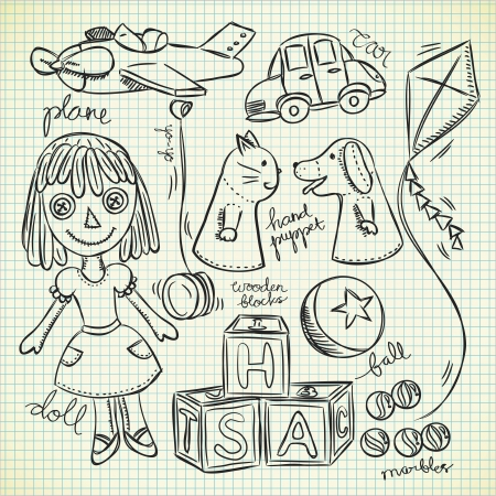 paper kite: set of vintage toys in doodle style
