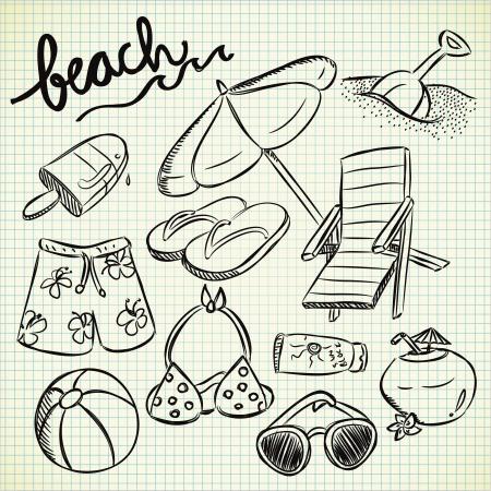 sandalia: conjunto de cosas de playa con estilo garabato Vectores