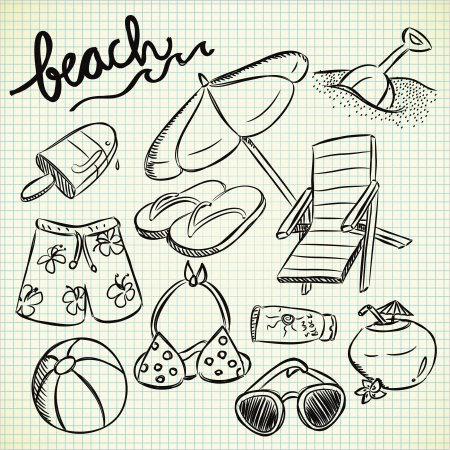 clip art draw: set of beach stuff in doodle style